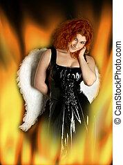 hells angel - black latex dress girl with angel wings in...