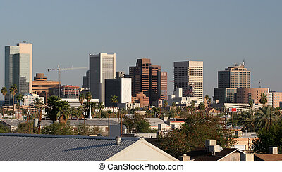 Phoenix Downtown Roofs, AZ - Skyscrapers and House Roofs in...