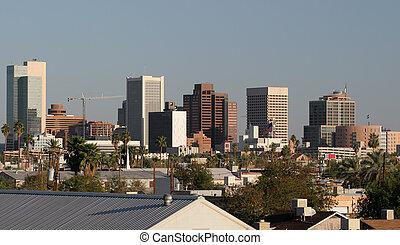 Phoenix, centro cidade, telhados, az
