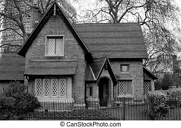 Old English Cottage - Black and white of an old english...