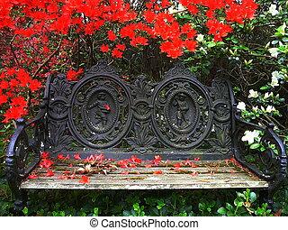 Garden Bench - Elaborate Garden Bench on Sunny Spring Day