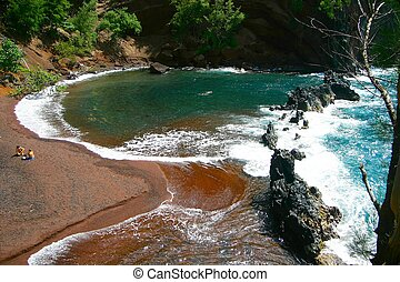 red sand beach Hana, Maui, Hawaii