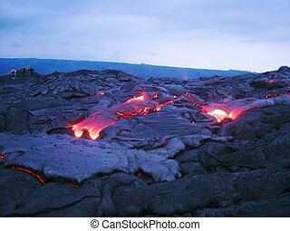 kilauea lava - fresh lava flow at kilauea, Maui, hawaii