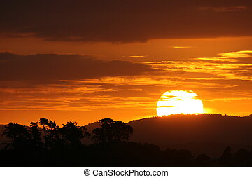 Amazing Sunset - An Amazing Landscape silhouette during the...