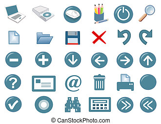 3d icon set - 3d computer icon set - computer generated