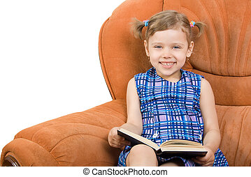 Little girl reading book and have fun