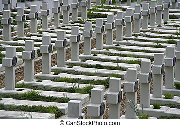War cemetery - Graves of fallen soldiers in a memorial war...