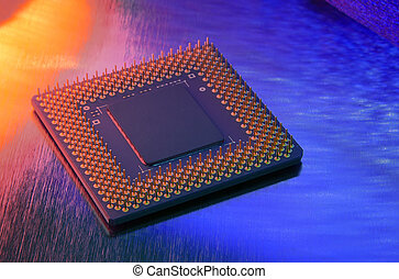 CPU closeup against vivid background