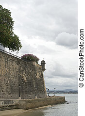 the wall and sentry post old san juan - the wall at el morro...
