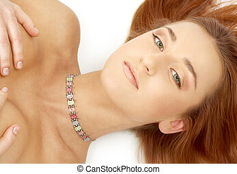 green eyed redhead with collar - picture of green eyed...
