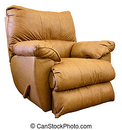 Leather Rocker Recliner - Plush Saddle Brown Leather Rocker...