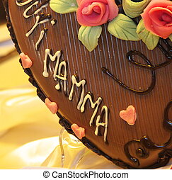 mothers day - detail of a chocolate heart decorated for...