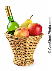 Bottle of wine and fruit in basket - Bottle of white wine...