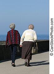 Elderly Females - Two elderly female, rear view, walking...