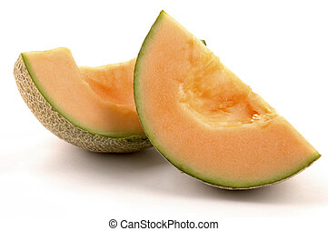 Cantaloupe wedges on a white background.