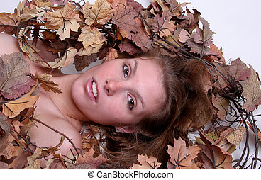 Woman with leaves