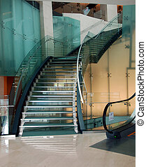 Steel and glass staircase - steel and glass cover staircase...