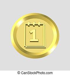gold calendar icon - 3d gold calendar icon - computer...