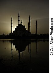 The Adana Mosque - The silhouette of the mosque in adana...