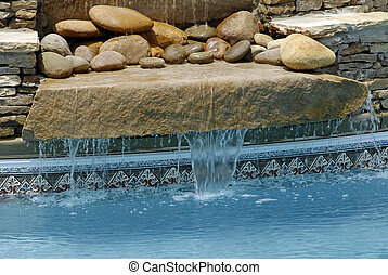 Swimming Pool Waterfall - Warm Water from SPA running over...