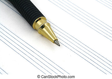 stave and ballpoint pen - close-up of stave and ballpoint...