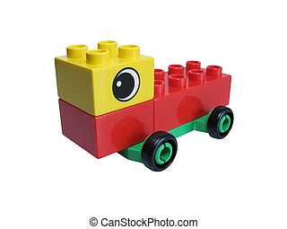 Children toy - Car made with colorful bricks on a over white...