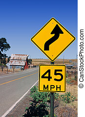 Curve Warning Road Sign - Yellow Curve Warning Road Sign in...