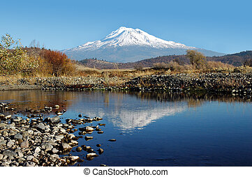 Mount Shasta Reflection - Mount Shasta Reflected in Creek...