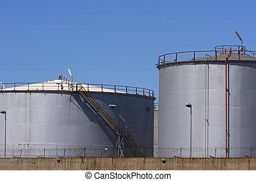 Fuel tanks closeup - Closeup view of fuel storage tanks