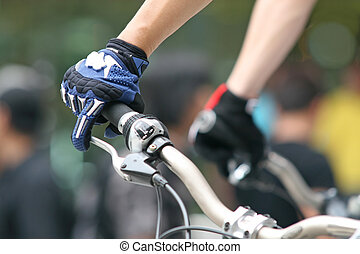 Mountain bike race - Close up of a competitor on a mountain...