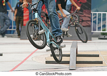 BMX Competition - BMX biker takes part in a local...