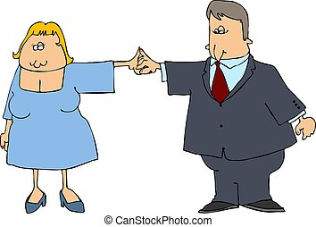 Dance Partners - This illustration depicts a man and woman...