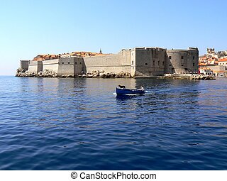 Dubrovnik City walls - A picture teken from sea showing...