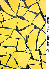 Yellow Pique Assiette Background - A yellow broken tile...