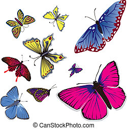 Flying Butterflys - Vector illustration of many flying...