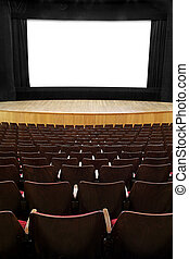 at the movies - empty movie screen, black open curtain,...