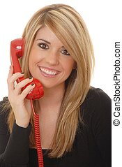 Helpdesk Girl 219 - Lovely blond woman working at help desk