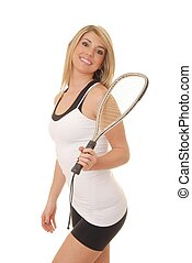 Blond Racket Ball Player 1 - Lovely blond girl with a racket...