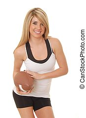 Football Girl 4 - Lovely isolated blond lady with a football