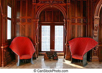 Living-Room with red armchairs. - Living-Room with red...