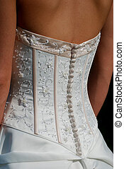 Back of Wedding Dress - Embroidery work on the back of a...