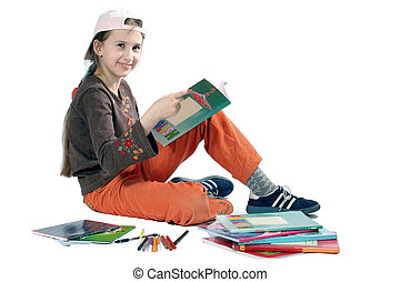 Smiling young girl with books