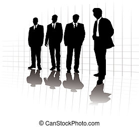 business parade lone - A group of business men in a line up...