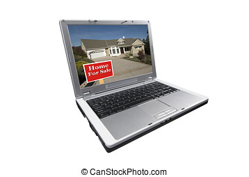 real estate shopping online - laptop computer isolated on...