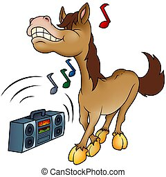 Horse and Music - Highly detailed cartoon animal