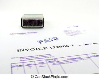 Invoice paid - Represent paper copy of computer invoice mark...