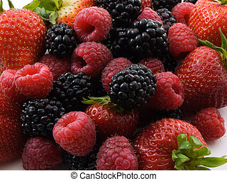 Berries - Photo of a pile of strawberries,raspberries,and...