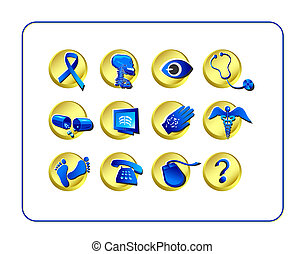 Medical & Pharmacy Icon Set - Golden-Blue