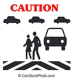 pedestrian caution - caution crossing in traffic pedestrian...