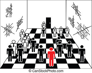 smart play - chessboard with figures of businessmen, playing...